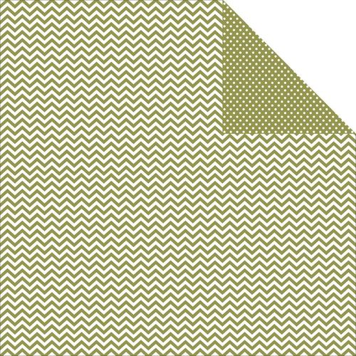 "Green Chevron & Dots Double-Sided Cardstock 12""X12"""