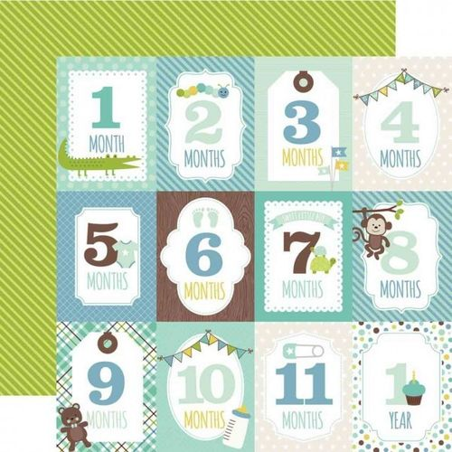 Month Cards Boy - doppelseitiges Scrapbooking Papier
