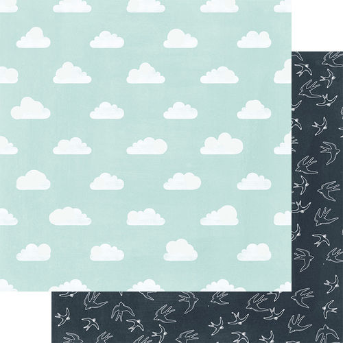 Clouds and Birds- doppelseitiges Scrapbooking Papier
